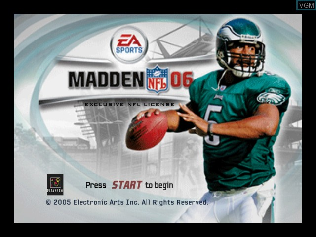 Title screen of the game Madden NFL 06 on Microsoft Xbox