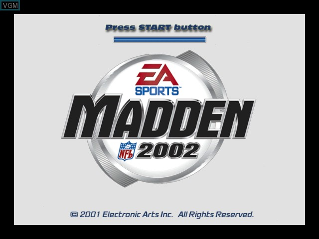 Title screen of the game Madden NFL 2002 on Microsoft Xbox