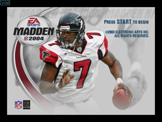 Title screen of the game Madden NFL 2004 on Microsoft Xbox