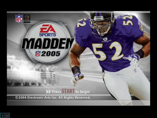 Title screen of the game Madden NFL 2005 on Microsoft Xbox