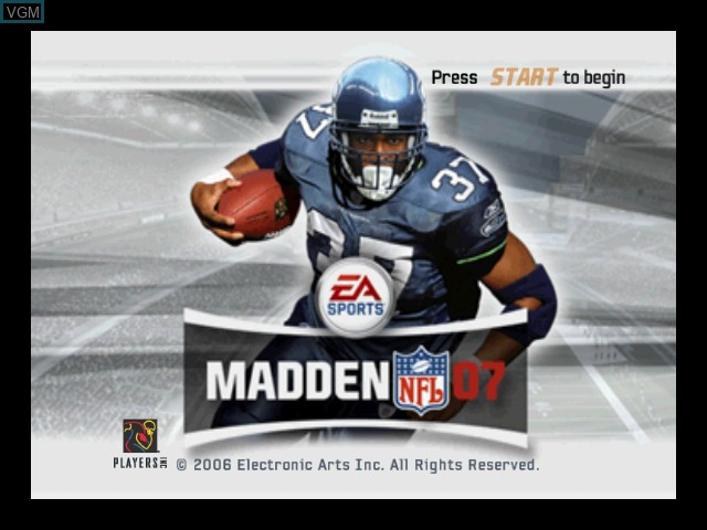 Title screen of the game Madden NFL 07 on Microsoft Xbox