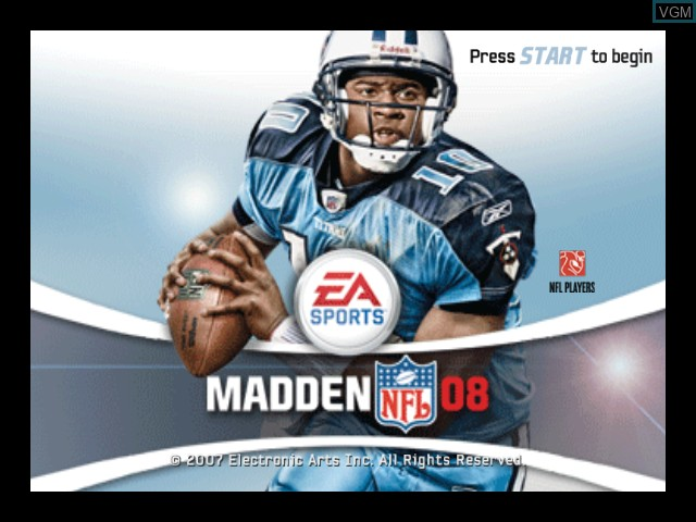 Title screen of the game Madden NFL 08 on Microsoft Xbox