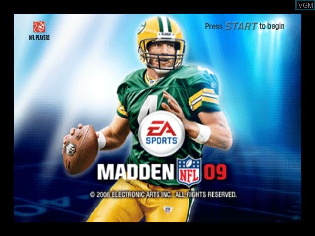 Title screen of the game Madden NFL 09 on Microsoft Xbox