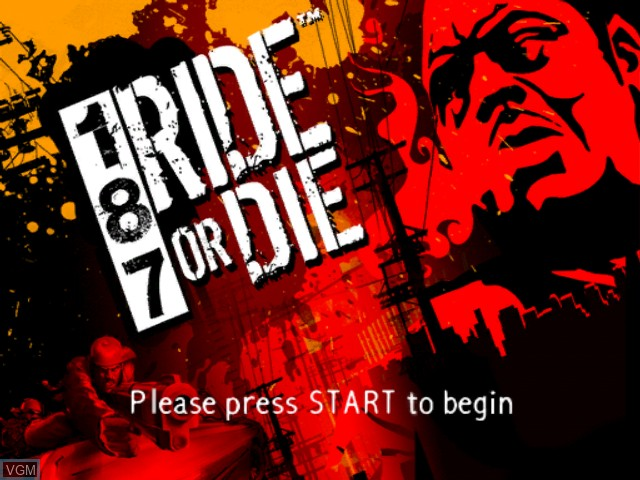 Title screen of the game 187 Ride or Die on Microsoft Xbox