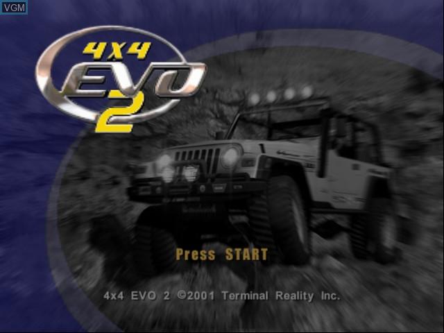 Title screen of the game 4x4 EVO 2 on Microsoft Xbox