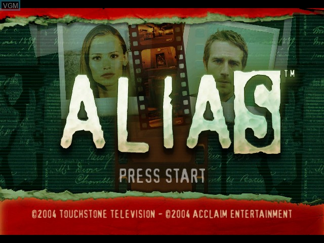 Title screen of the game Alias on Microsoft Xbox