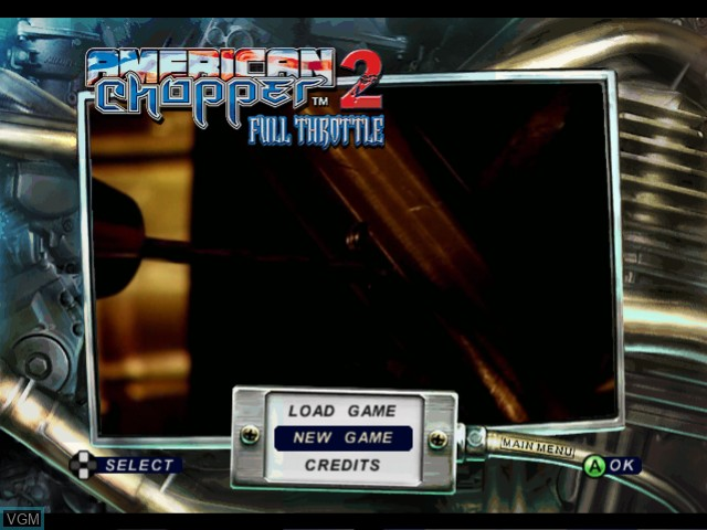 Title screen of the game American Chopper 2 - Full Throttle on Microsoft Xbox