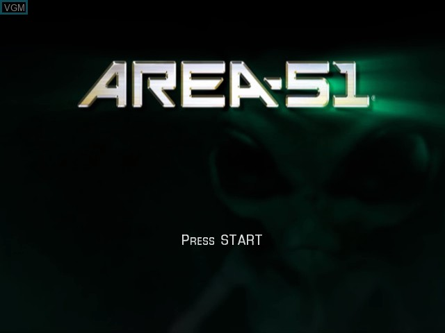 Title screen of the game Area 51 on Microsoft Xbox