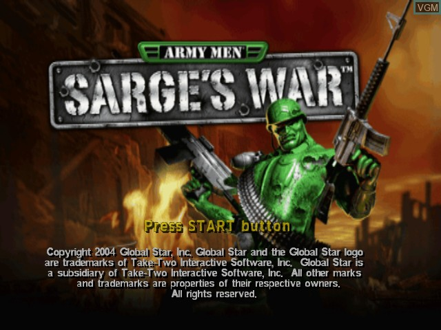 Title screen of the game Army Men - Sarge's War on Microsoft Xbox