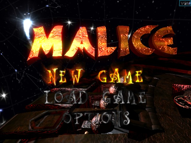 Title screen of the game Malice on Microsoft Xbox