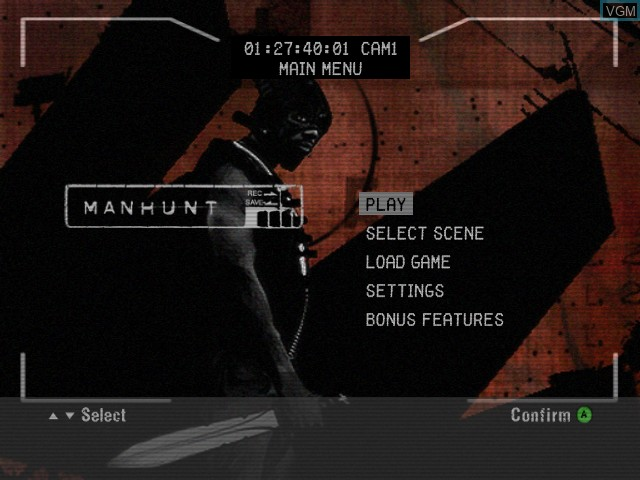 Title screen of the game Manhunt on Microsoft Xbox