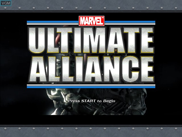 Title screen of the game Marvel - Ultimate Alliance on Microsoft Xbox