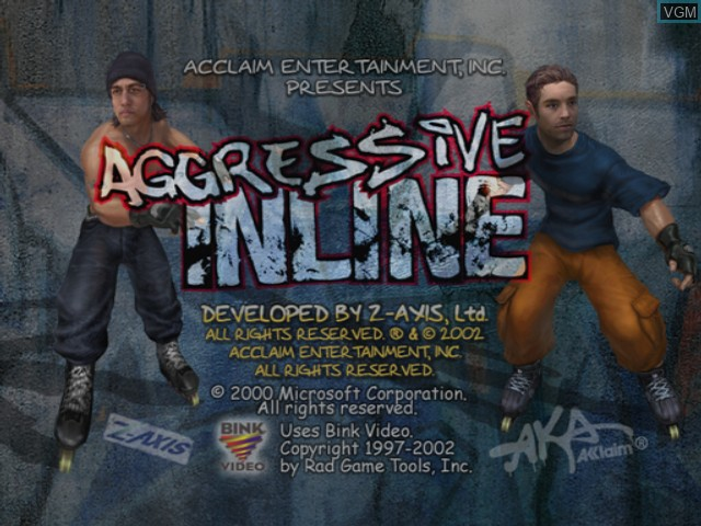 Title screen of the game Aggressive Inline on Microsoft Xbox