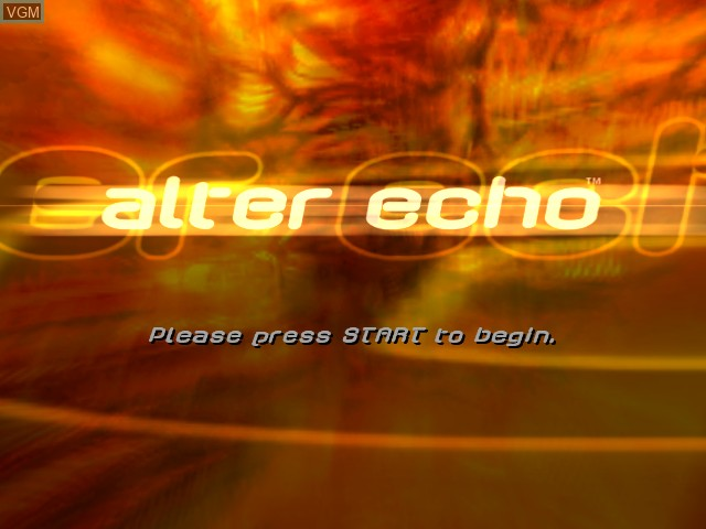 Title screen of the game Alter Echo on Microsoft Xbox