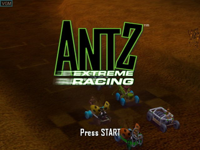 Title screen of the game Antz Extreme Racing on Microsoft Xbox