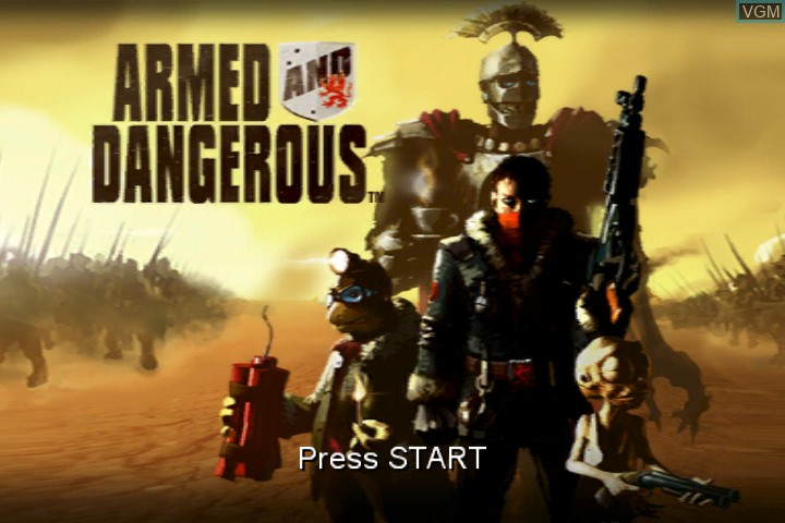 Title screen of the game Armed and Dangerous on Microsoft Xbox