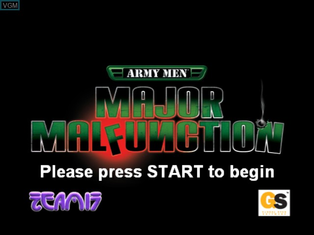 Title screen of the game Army Men - Major Malfunction on Microsoft Xbox
