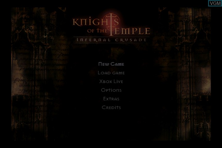 Title screen of the game Knights of the Temple - Infernal Crusade on Microsoft Xbox