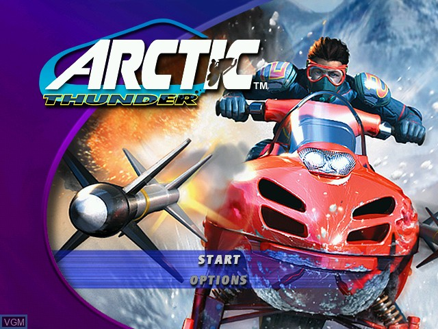 Title screen of the game Arctic Thunder on Microsoft Xbox