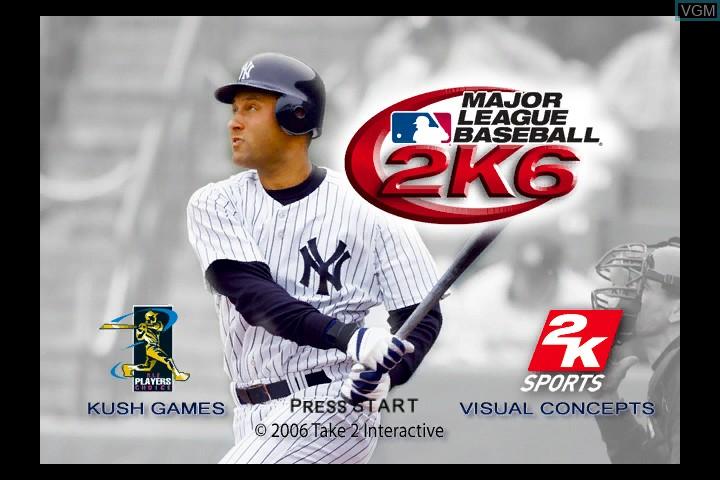 Title screen of the game Major League Baseball 2K6 on Microsoft Xbox
