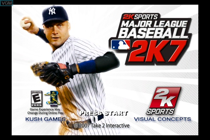 Title screen of the game Major League Baseball 2K7 on Microsoft Xbox