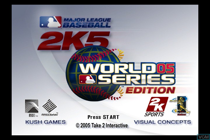 Title screen of the game Major League Baseball 2K5 - World Series Edition on Microsoft Xbox