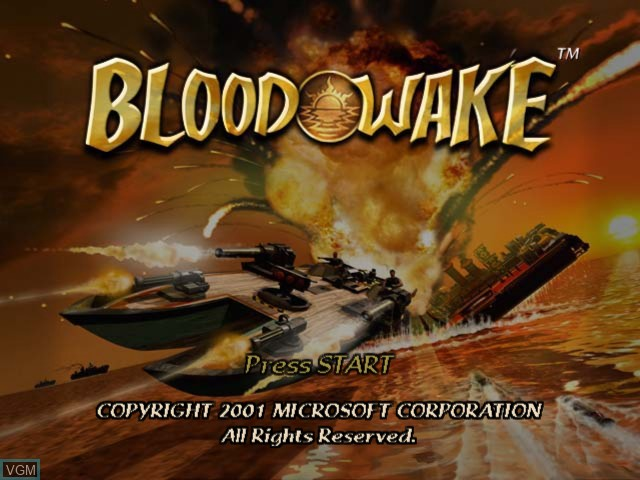 Title screen of the game Blood Wake on Microsoft Xbox