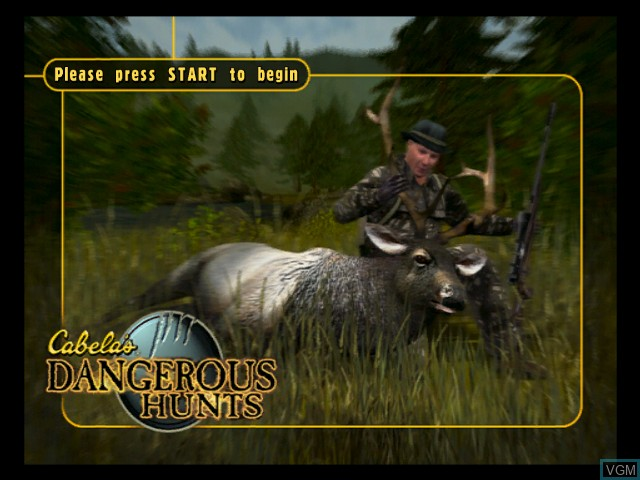 Title screen of the game Cabela's Dangerous Hunts on Microsoft Xbox