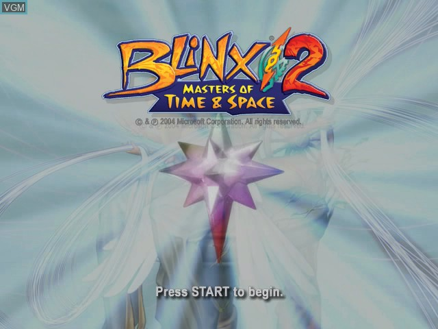 Title screen of the game Blinx 2 - Battle of Time and Space on Microsoft Xbox