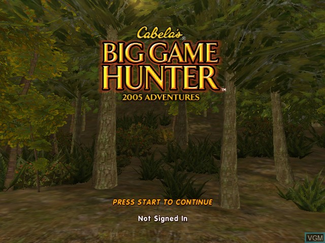 Title screen of the game Cabela's Big Game Hunter 2005 Adventures on Microsoft Xbox