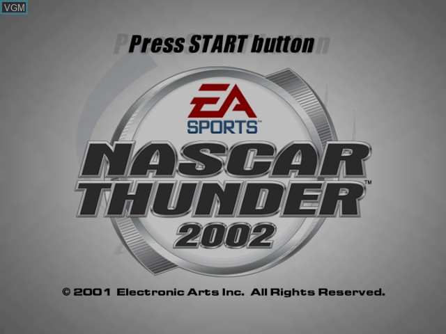 Title screen of the game NASCAR Thunder 2002 on Microsoft Xbox