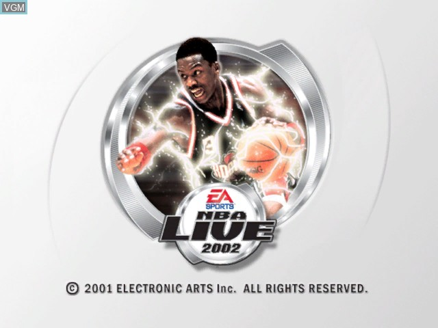 Title screen of the game NBA Live 2002 on Microsoft Xbox