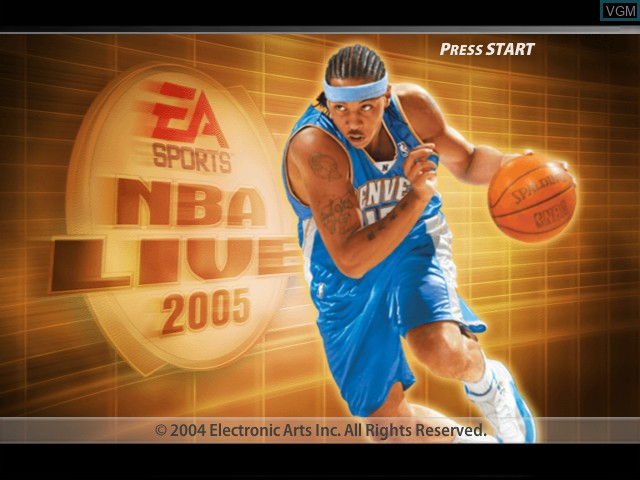 Title screen of the game NBA Live 2005 on Microsoft Xbox