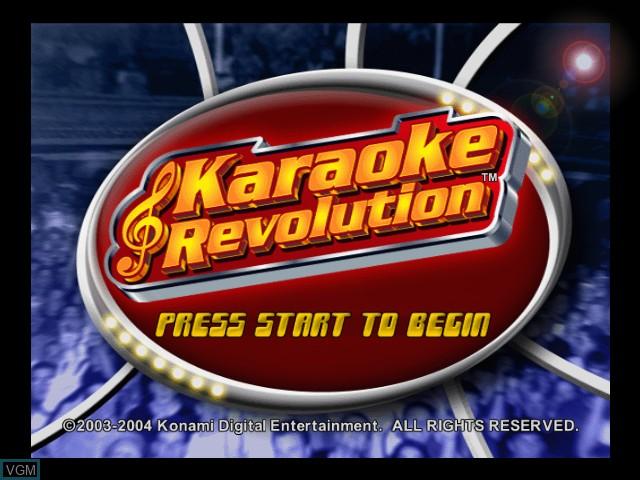 Title screen of the game Karaoke Revolution on Microsoft Xbox