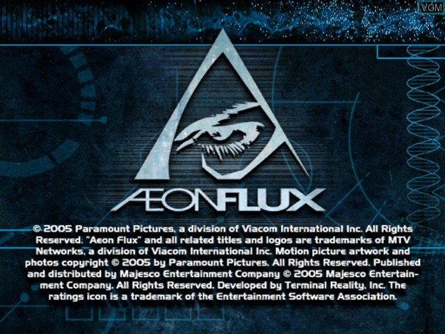 Title screen of the game Aeon Flux on Microsoft Xbox