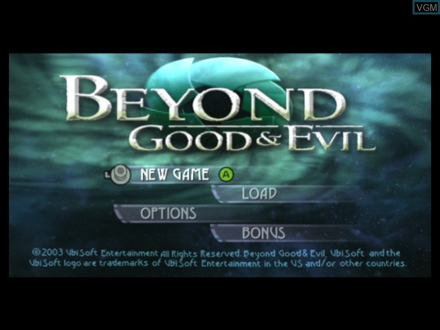 Title screen of the game Beyond Good & Evil on Microsoft Xbox