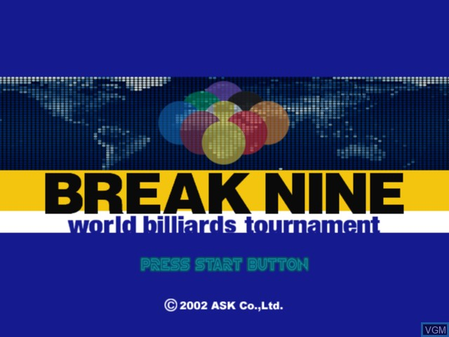Title screen of the game World Billiards Tournament - Break Nine on Microsoft Xbox