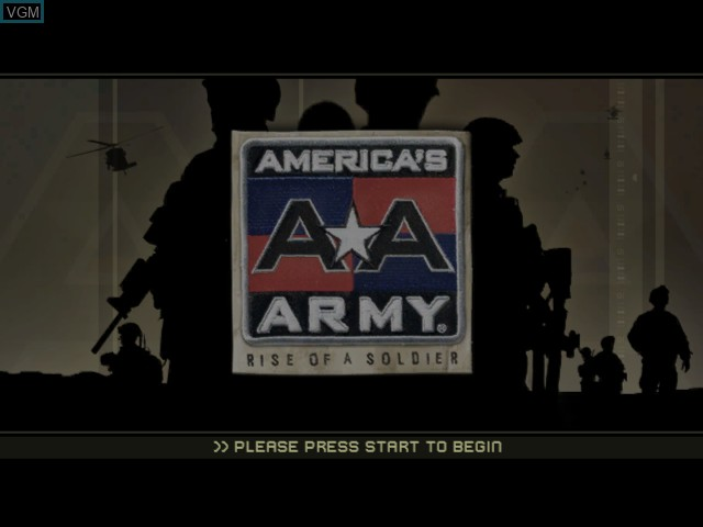 Title screen of the game America's Army - Rise of a Soldier on Microsoft Xbox