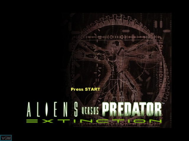 Title screen of the game Aliens Versus Predator - Extinction on Microsoft Xbox