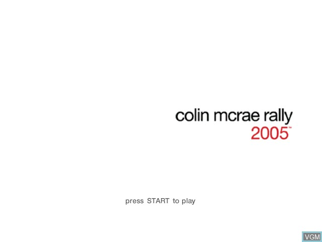 Title screen of the game Colin McRae Rally 2005 on Microsoft Xbox