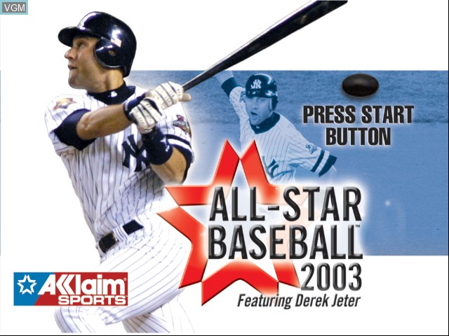 Title screen of the game All-Star Baseball 2003 on Microsoft Xbox
