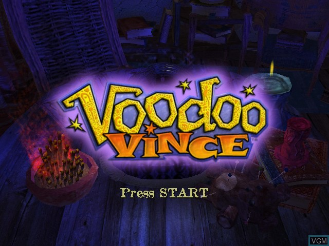 Title screen of the game Voodoo Vince on Microsoft Xbox