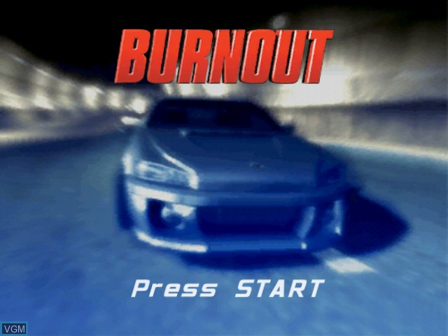 Title screen of the game Burnout on Microsoft Xbox
