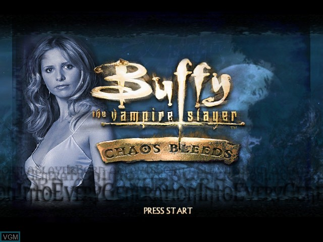 Title screen of the game Buffy the Vampire Slayer - Chaos Bleeds on Microsoft Xbox