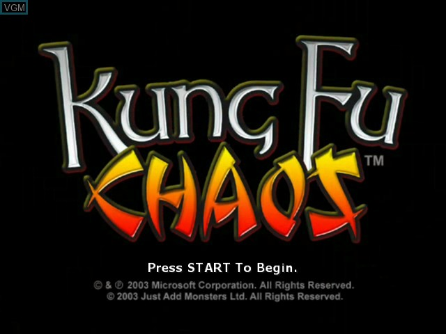 Title screen of the game Kung Fu Chaos on Microsoft Xbox
