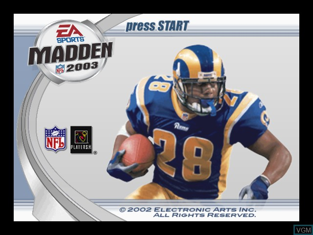 Title screen of the game Madden NFL 2003 on Microsoft Xbox
