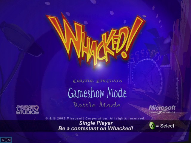 Title screen of the game Whacked! on Microsoft Xbox