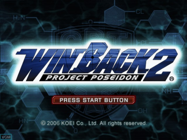 Title screen of the game WinBack 2 - Project Poseidon on Microsoft Xbox