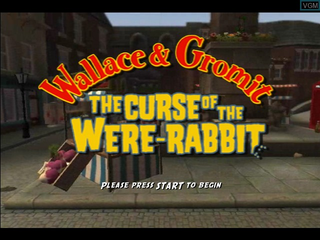 Title screen of the game Wallace & Gromit - Curse of the Were-Rabbit on Microsoft Xbox