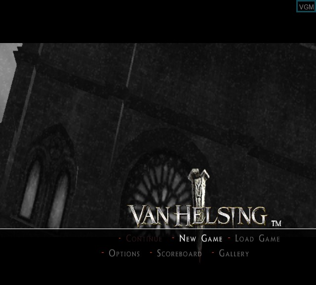 Title screen of the game Van Helsing on Microsoft Xbox